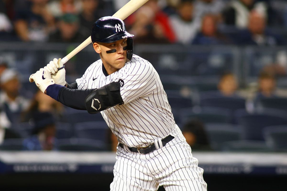 Aaron Judge #99 of the New York Yankees in action against the Tampa Bay Rays at Yankee Stadium on October 01, 2021 in New York City. Tampa Bay Rays defeated the New York Yankees 4-3.