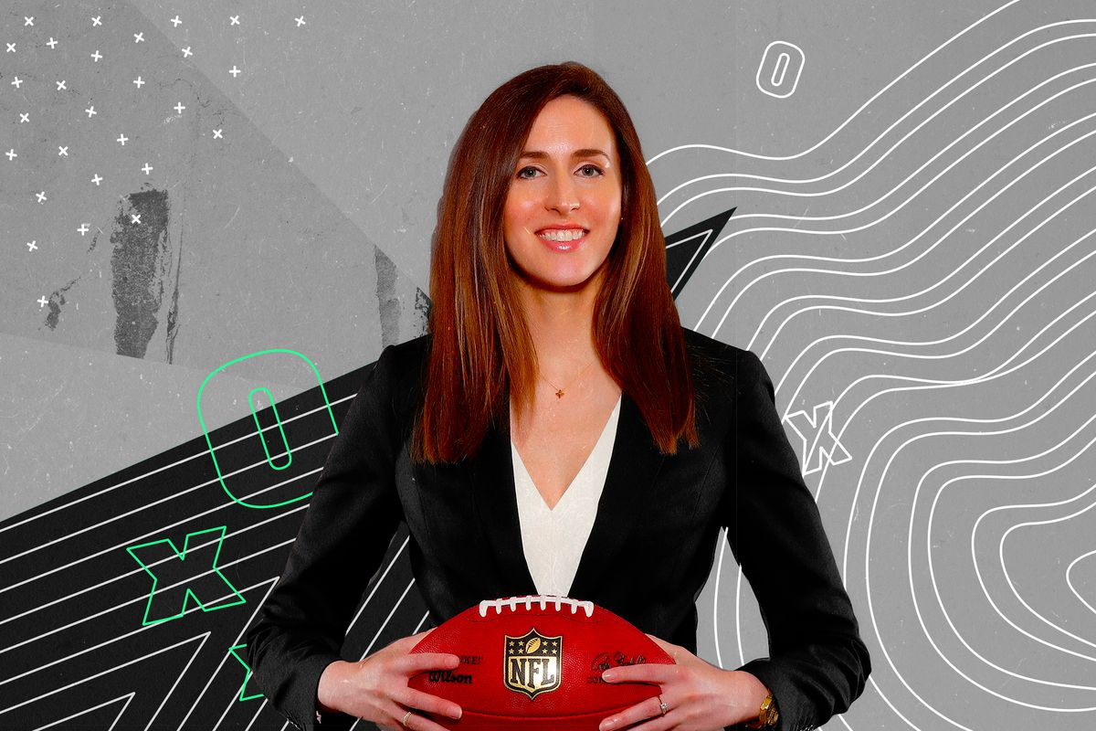 49ers Chief Administrative Officer and General Counsel Hannah Gordon headshot, superimposed on a black and white illustration