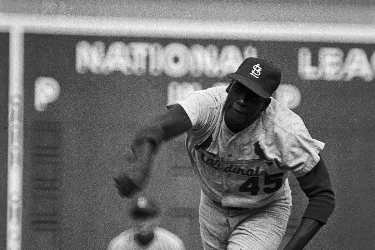 Bob Gibson Pitching to Red Sox Player
