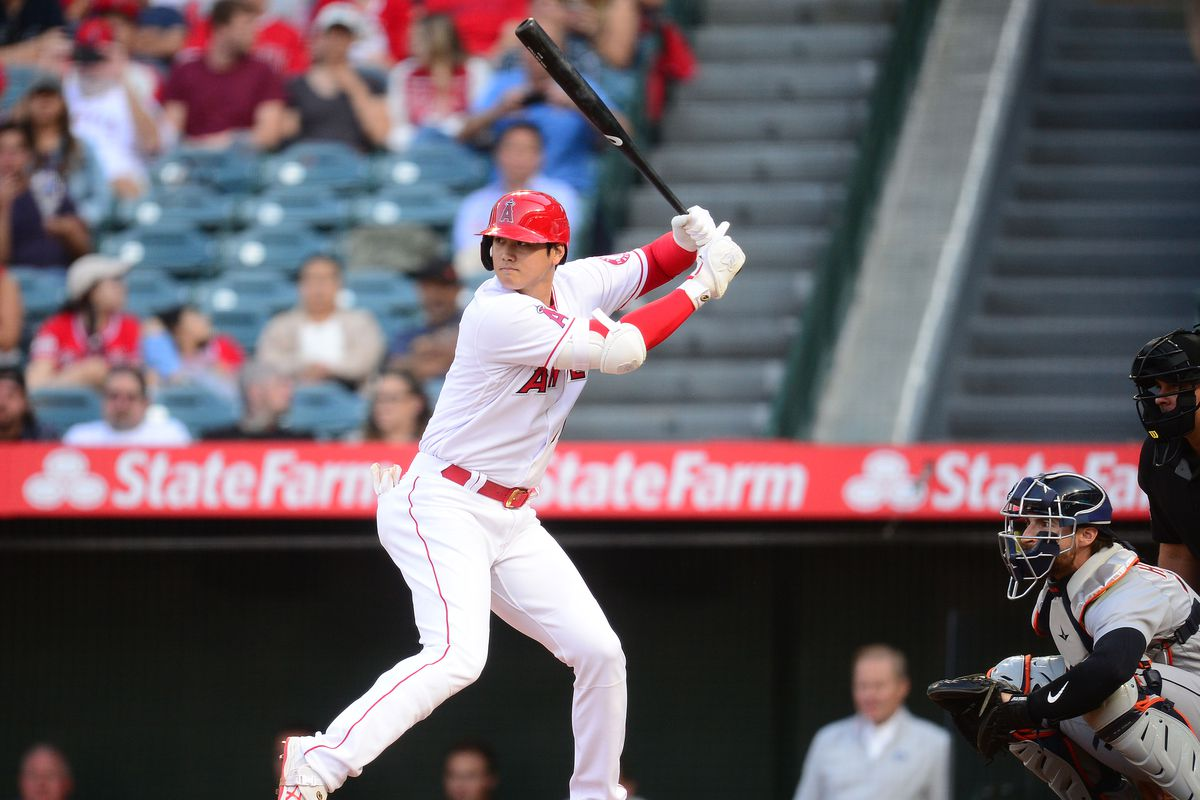 Los Angeles Angels starting pitcher Shohei Ohtani hits against the Detroit Tigers during the first inning at Angel Stadium.