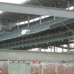 This view shows where the upper deck third-base line ribbon board ends -