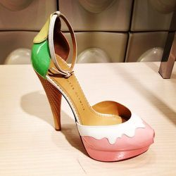 """<a href=""""http://www.neimanmarcus.com/Charlotte-Olympia-Ice-Cream-Cone-Heel-d-Orsay-Pump-Pastel/prod161990071/p.prod"""">Charlotte Olympia Ice Cream d'Orsay Pumps</a> <strong>Pain level</strong>: Sweet but numb, almost frozen toes guaranteed in 4 to 5 hours."""