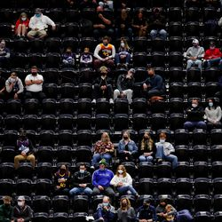 Fans are socially distanced for the game between the Utah Jazz and the Oklahoma City Thunder at Vivint Smart Home Arena in Salt Lake City on Tuesday, April 13, 2021.