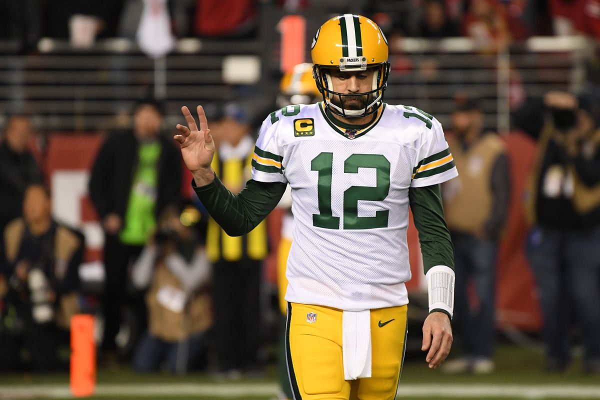 Aaron Rodgers #12 of the Green Bay Packers reacts to a rushing touchdown against the San Francisco 49ers during the second half of the NFC Championship game at Levi's Stadium on January 19, 2020 in Santa Clara, California.