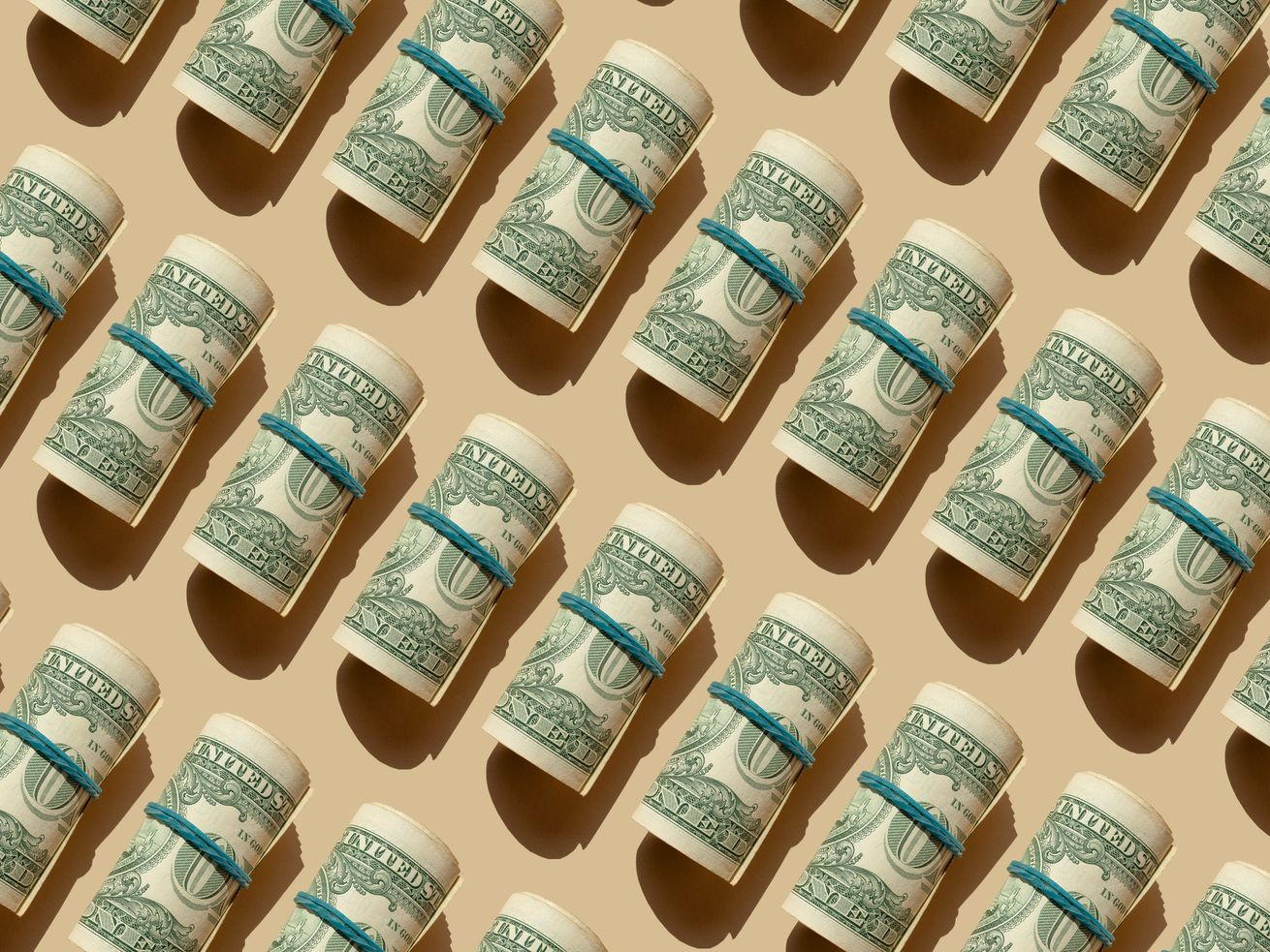 Rolls of dollars.