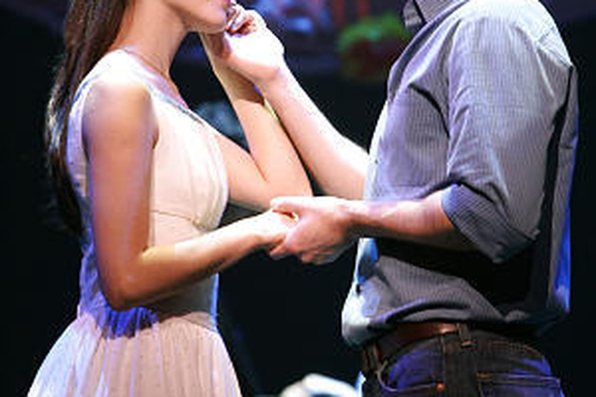 """In this image released by Barlow-Hartman Public Relations, Matt Cavenaugh as Tony and Josefina Scaglione as Maria perform in a scene from the Broadway revival of """"West Side Story,"""" now playing at the Palace Theatre in New York."""
