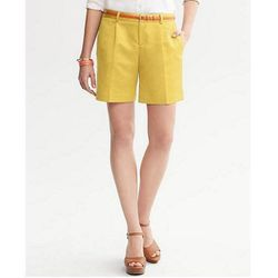 """Pleat-Front Short in Ultra Yellow, $44.50 at <a href=""""http://bananarepublic.gap.com/browse/product.do?cid=94275&vid=1&pid=411025002#"""">Banana Republic</a>"""