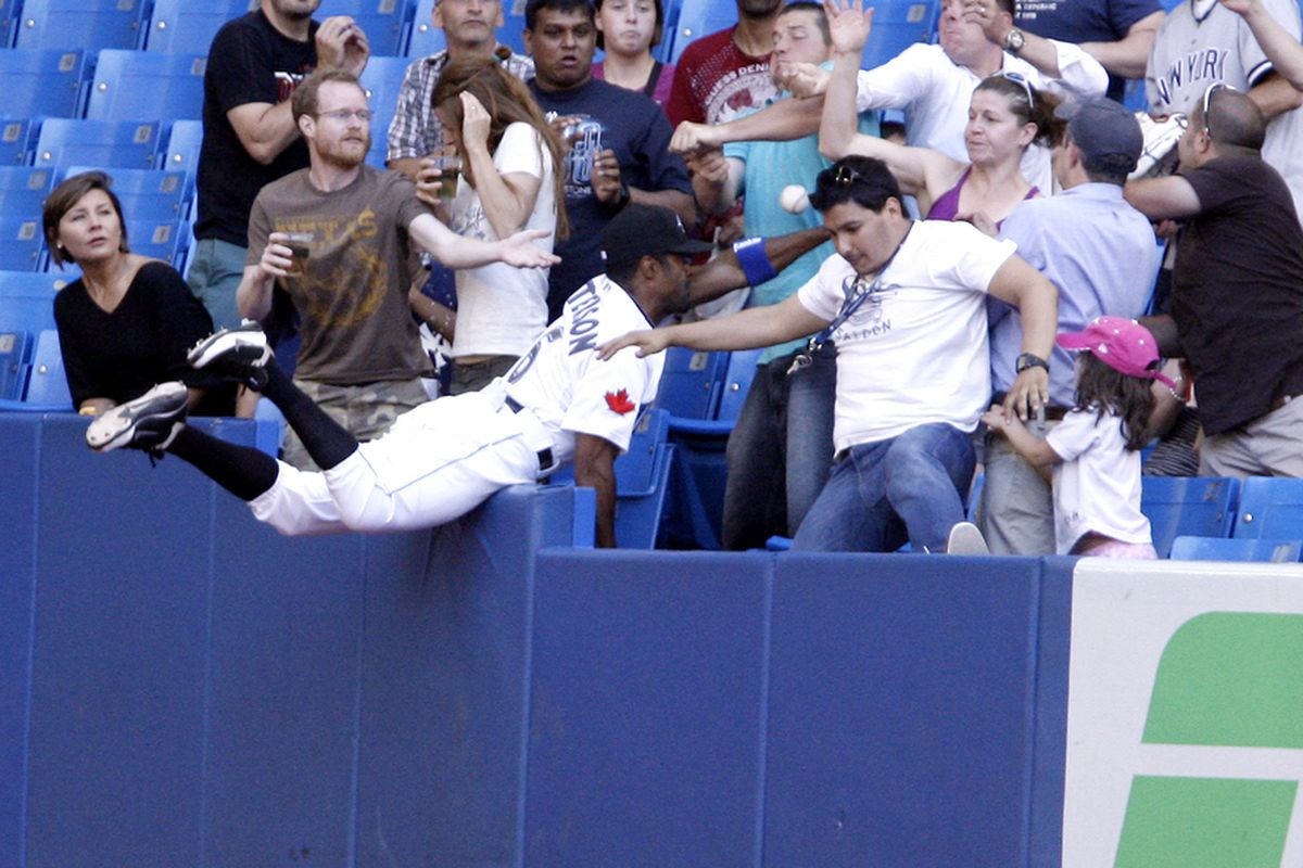 Corey Patterson, jumping into the stands