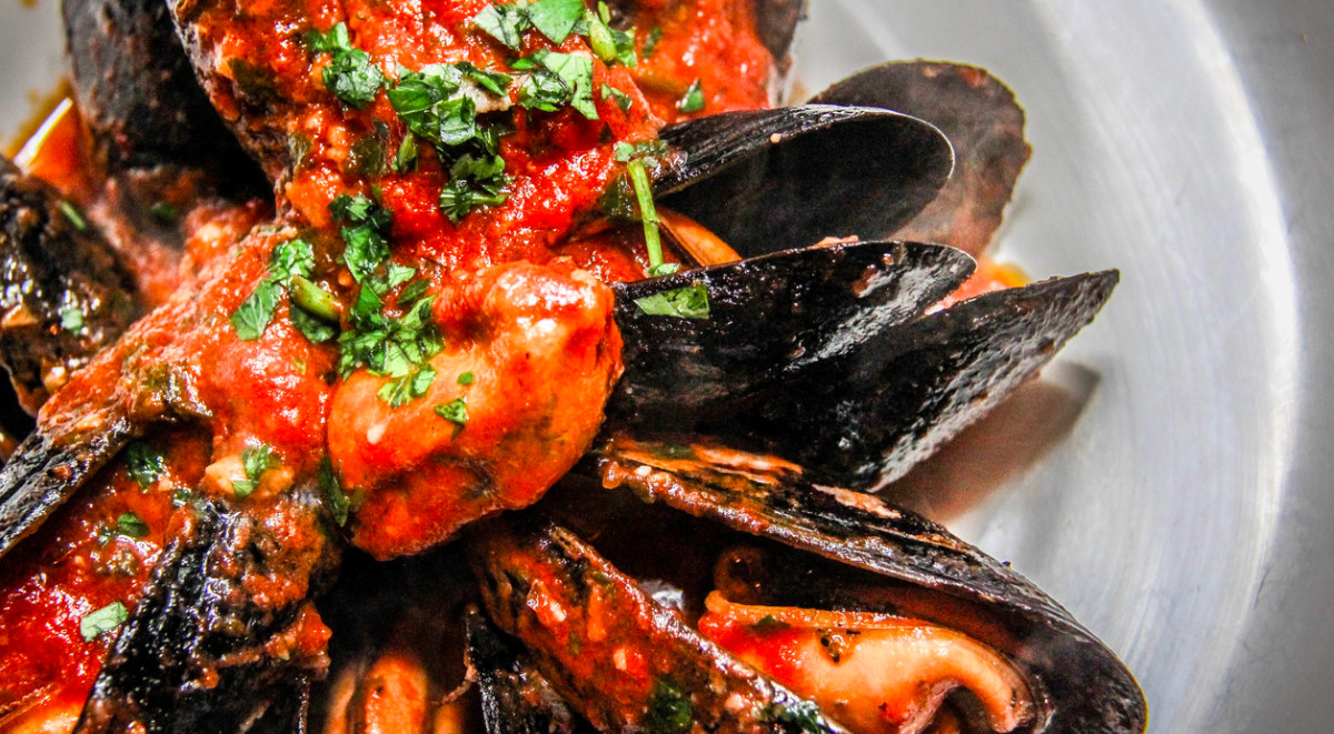 Closeup overhead view of a plate of mussels in a red sauce with a green herb garnish