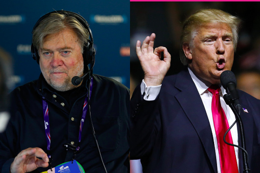Parallel pictures of Donald Trump and Steve Bannon