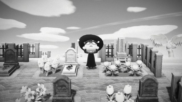 ANimal Crossing: New Horizons - a villager in a black dress and wide-brimmed hat weeps in a graveyard