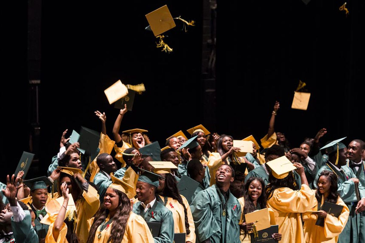 Booker T. Washington High School seniors toss their graduation caps into the air last spring at the conclusion of their graduation ceremony at the Orpheum Theatre.