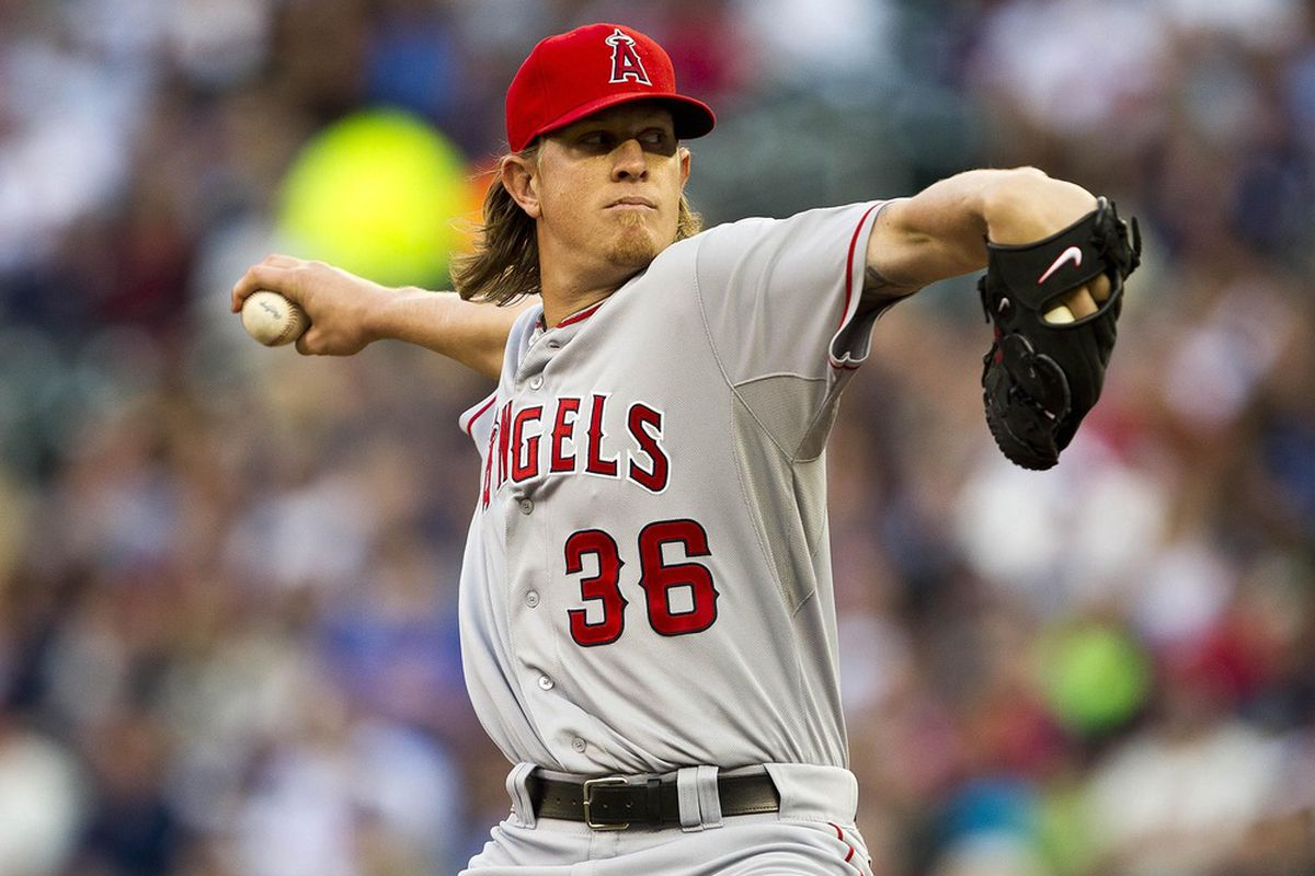 May 7, 2012; Minneapolis, MN, USA: Los Angeles Angels starting pitcher Jered Weaver (36) delivers a pitch in the first inning against the Minnesota Twins at Target Field. Mandatory Credit: Jesse Johnson-US PRESSWIRE