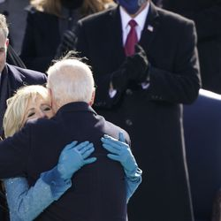 President Joe Biden is congratulated by first lady Jill Biden, his son Hunter Biden and daughter Ashley Biden after being sworn-in during the 59th Presidential Inauguration at the U.S. Capitol in Washington, Wednesday, Jan. 20, 2021.