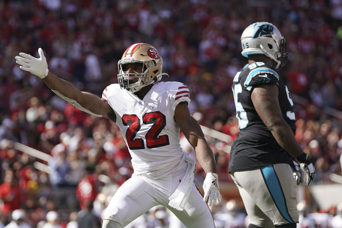 San Francisco 49ers running back Matt Breida celebrates after getting a first down against the Carolina Panthers during the first quarter at Levi's Stadium.