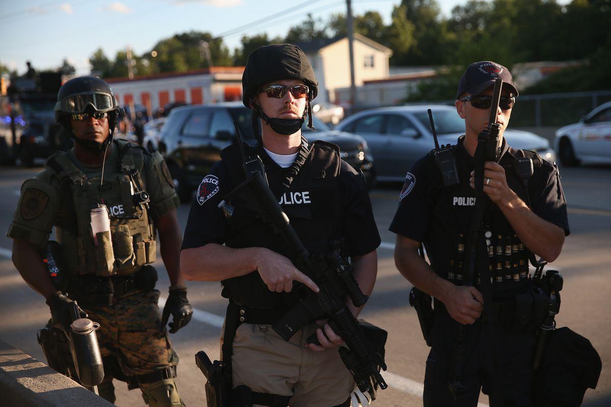 Ferguson cops in their army gear.