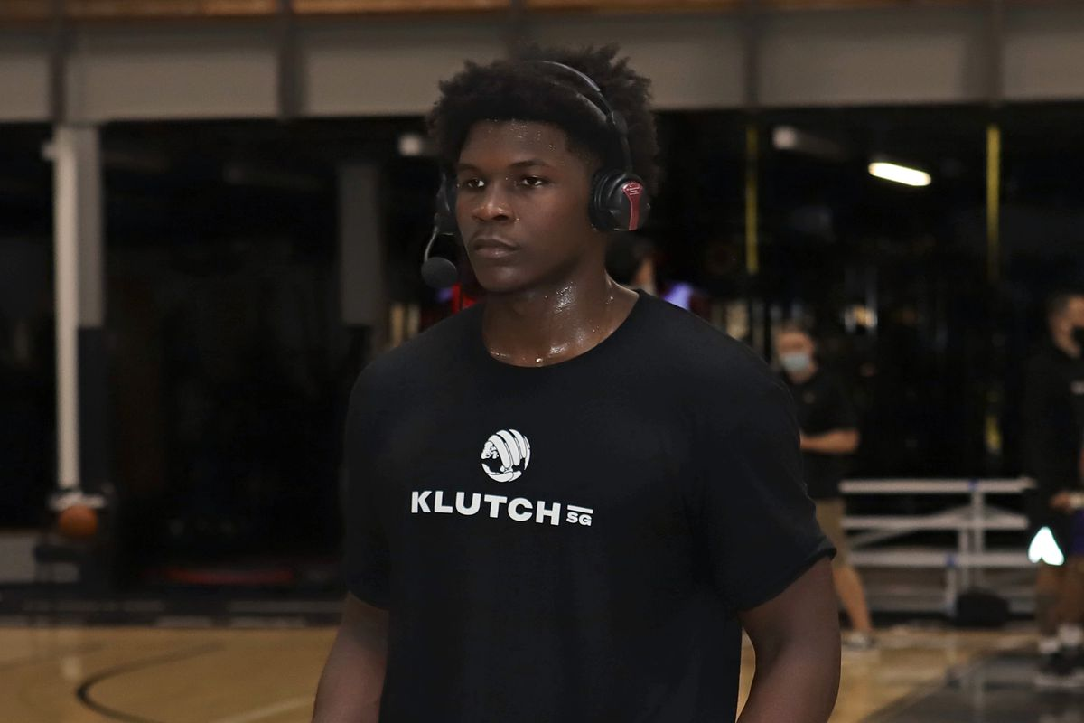 NBA Draft Prospect, Anthony Edwards talks to the media during a pro day on October 29, 2020 at The Sports Academy in Newbury Park, California.