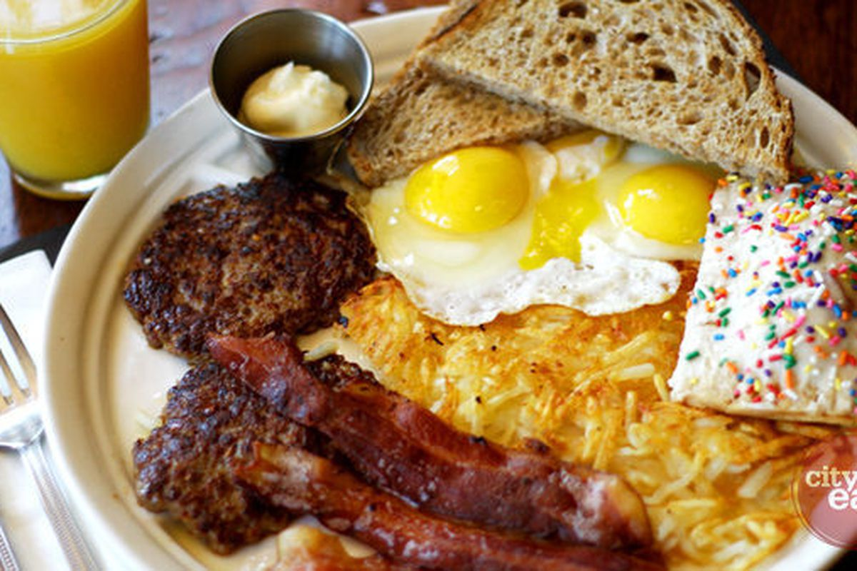 The Big Mark Breakfast at <b>Ted's Bulletin</b>: eggs, bacon, sausage, hash browns, toast AND a homemade pop tart.