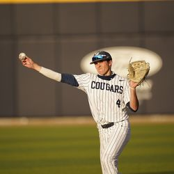 BYU's Andrew Pintar makes a throw during game against Portland in Provo, Utah.