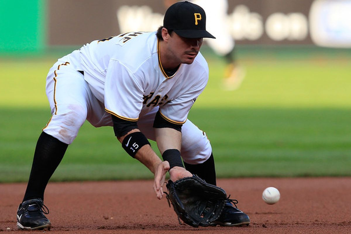 PITTSBURGH - JUNE 01:  Andy LaRoche #15 of the Pittsburgh Pirates fields a ground ball against the Chicago Cubs during the game on June 1st, 2010 at PNC Park in Pittsburgh, Pennsylvania.  (Photo by Jared Wickerham/Getty Images)