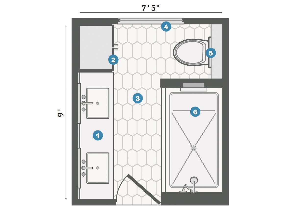 Spring 2021, Before & After Bath: Same Space, Fresh Look, floor plan