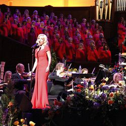 Guest artist Katherine Jenkins performs with Mormon Tabernacle Choir and Orchestra at Temple Square during dress rehearsal July 19, 2012 for Pioneer Day Concert. Choir musical director Mack Wilberg conducts.