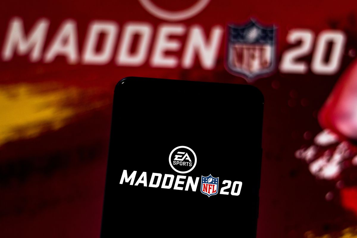 In this photo illustration the Madden NFL 20 logo is...