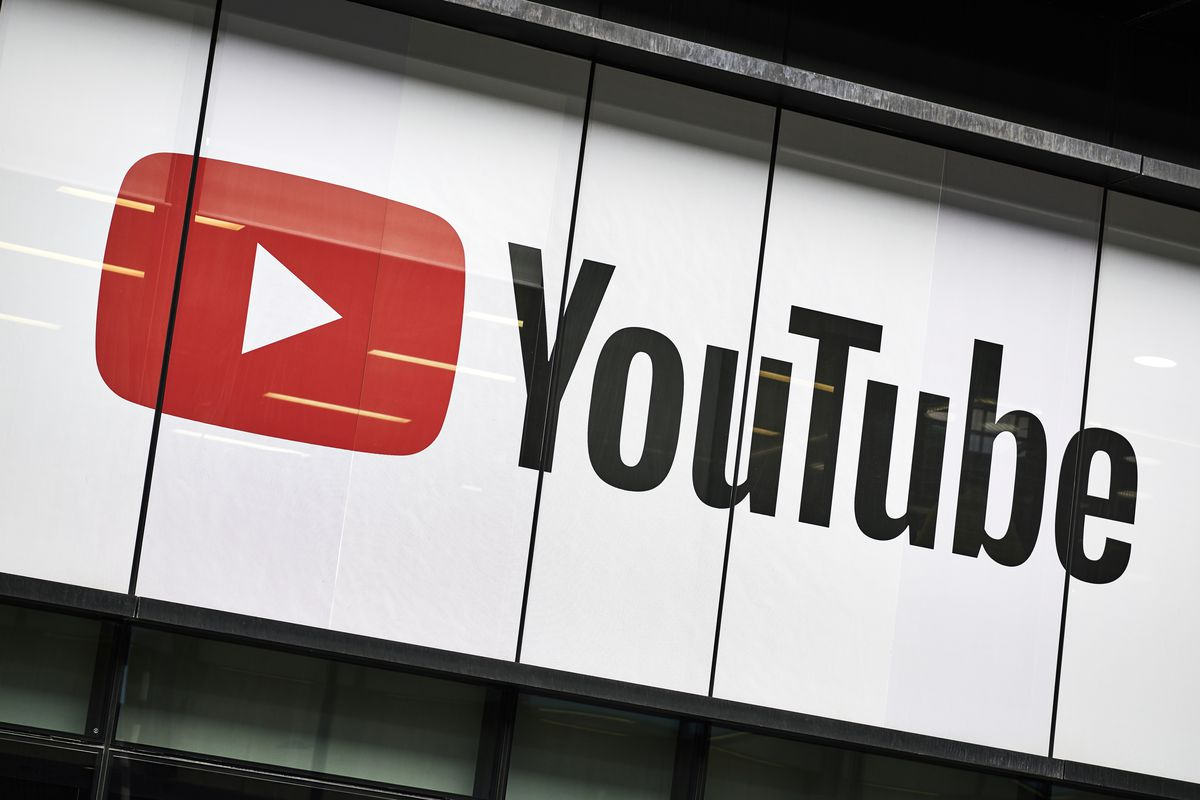the YouTube logo outside the YouTube Space in London