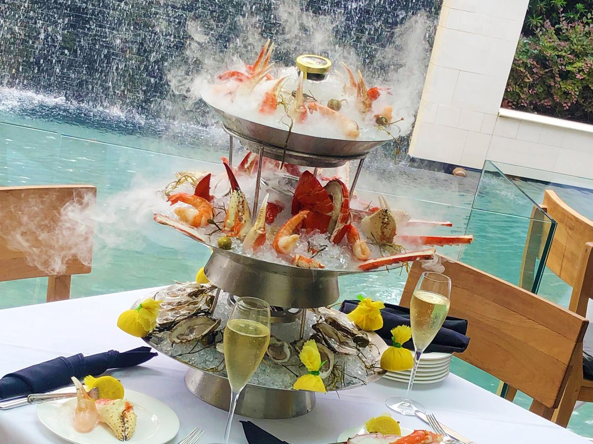 A seafood tower at Mastro's Ocean Club