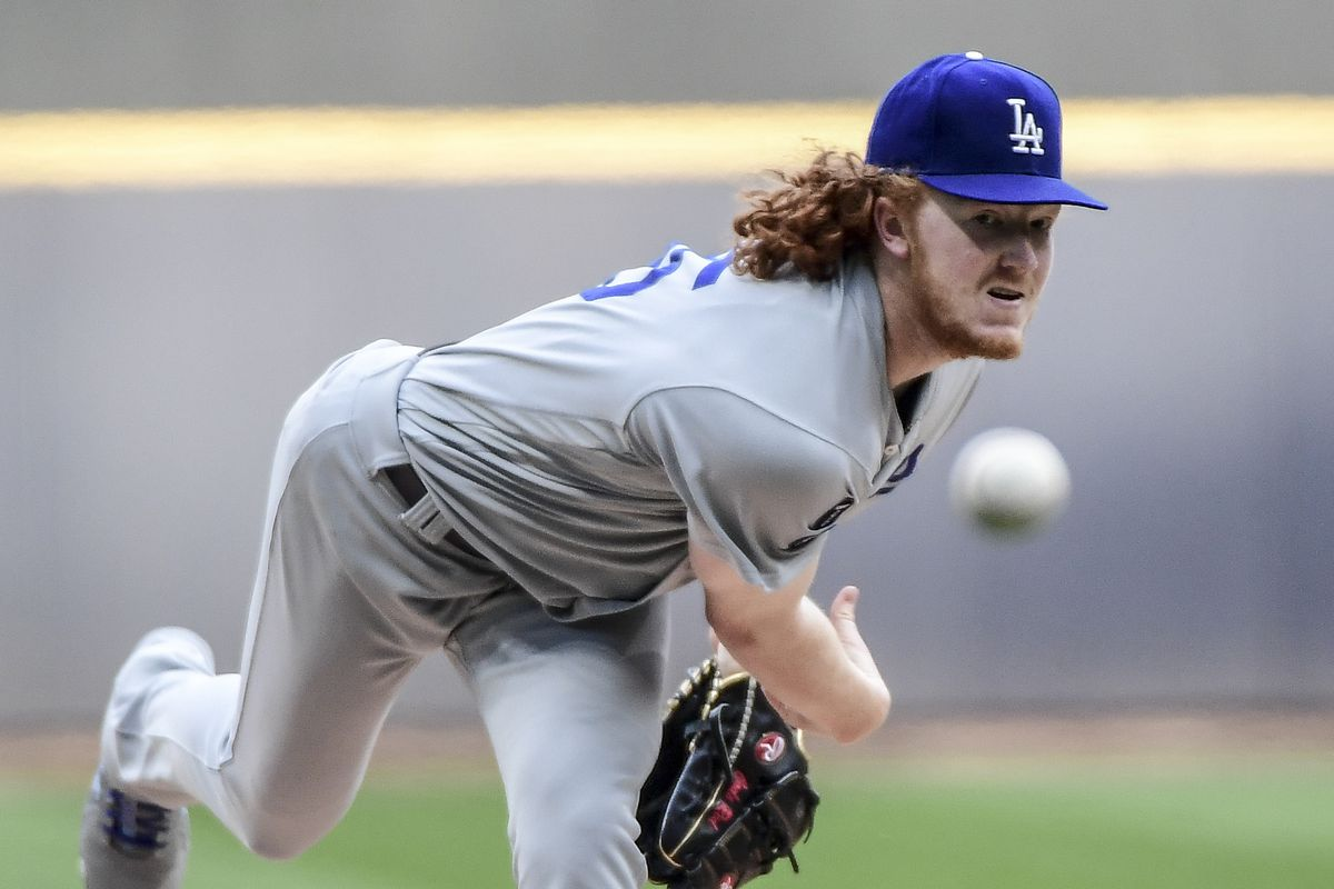 Los Angeles Dodgers pitcher Dustin May pitches in the first inning against the Milwaukee Brewers at American Family Field.