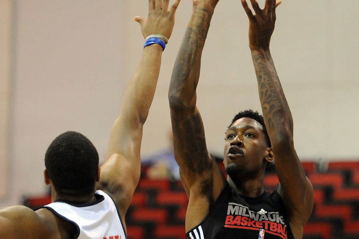 Dear Larry Sanders, Stop shooting jumpers and get into the paint. Mandatory Credit: Jayne Kamin-Oncea-US PRESSWIRE