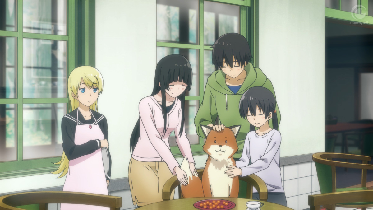 Anzu Shiina, Makoto Kowata, Kei Kuramoto, and Chinatsu Kuramotopetting a red fox.