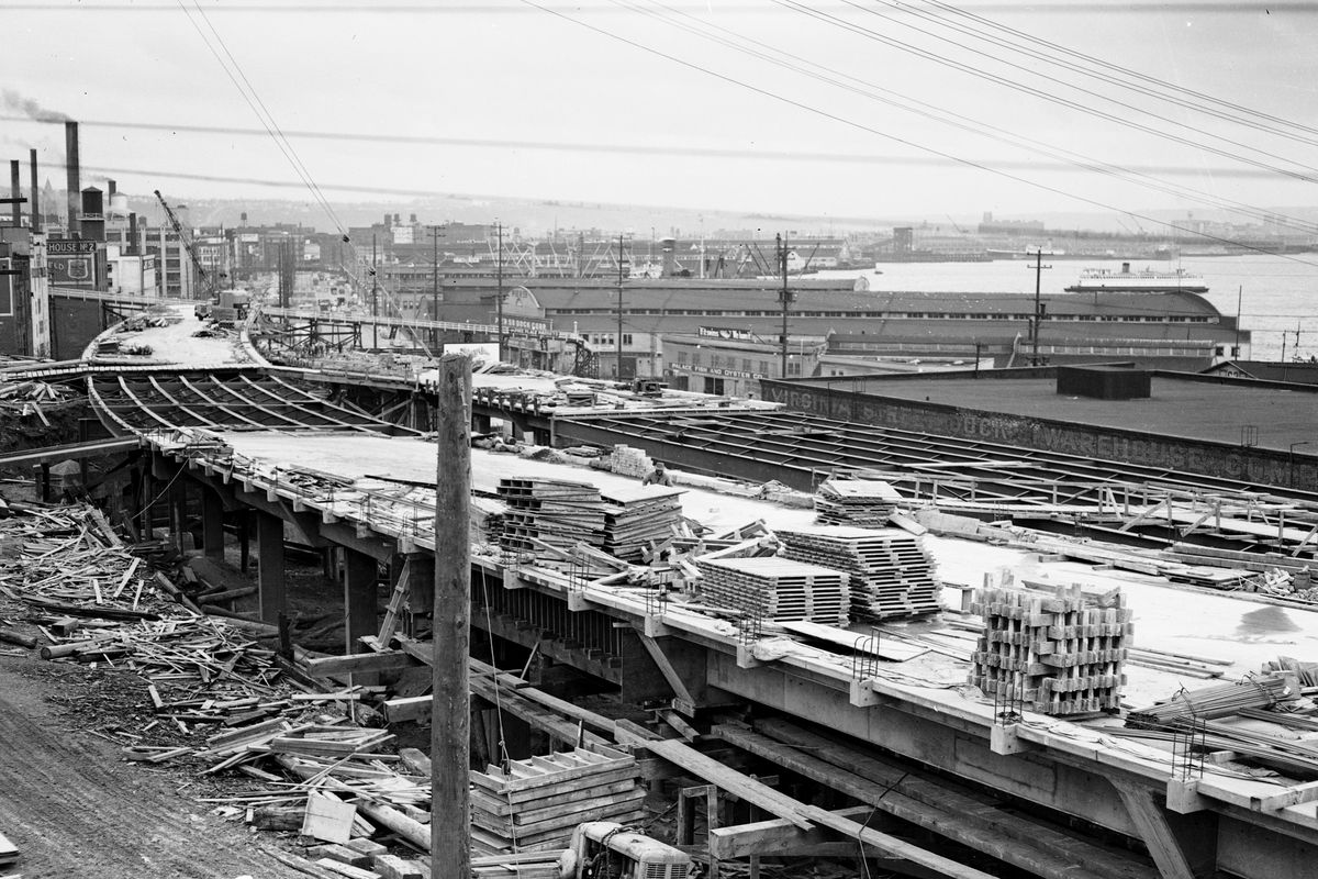 The construction site of the Alaskan Way viaduct. This is an old black and white photograph.