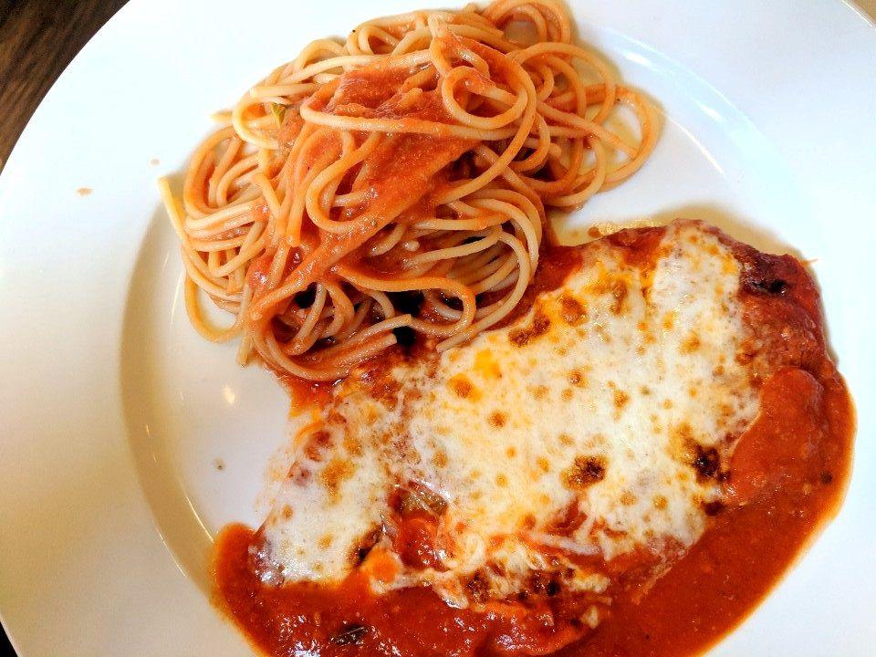 Veal parmigiana and pasta at Vito Restaurant in Santa Monica