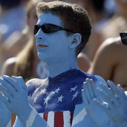 North Carolina fans cheer prior to an NCAA college football game against East Carolina in Chapel Hill, N.C., Saturday, Sept. 22, 2012.