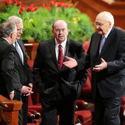 Elders Neil L. Andersen, D. Todd Christofferson, Quentin L. Cook  and L. Tom Perry, left to right, of the Quorum of the Twelve Apostles, visit before the final session of the 185th Annual General Conference of The Church of Jesus Christ of Latter-day Saints on Sunday, April 5, 2015, in Salt Lake City.