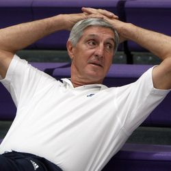 Jazz coach Jerry Sloan relaxes during media day for the Utah Jazz Sept. 29, 2008 in Salt Lake City.
