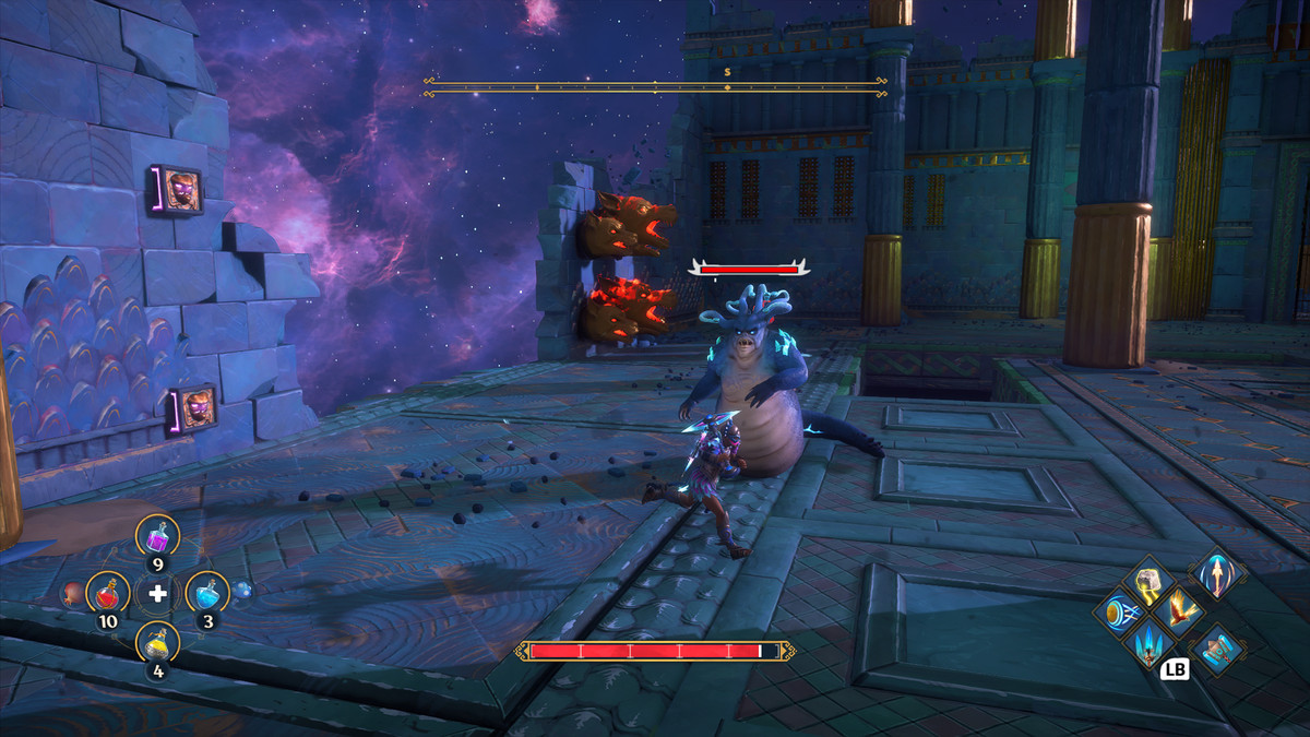 A Gorgon fights the main character of Immortals Fenyx Rising