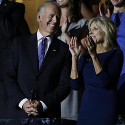 Vice President Joe Biden and his wife Jill applaud during their son Beau Biden's speech at the Democratic National Convention in Charlotte, N.C., on Thursday, Sept. 6, 2012.