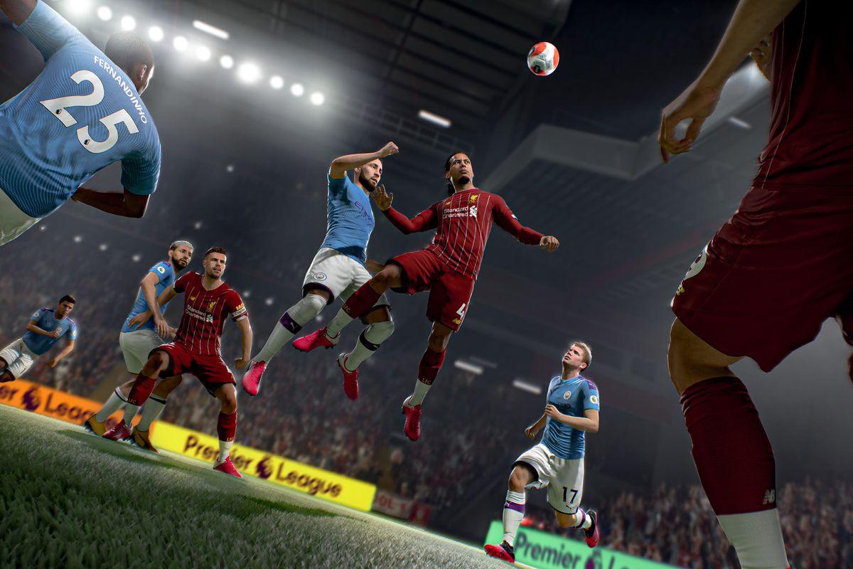 Virgil van Dijk of Liverpool FC going up for a header in FIFA 21