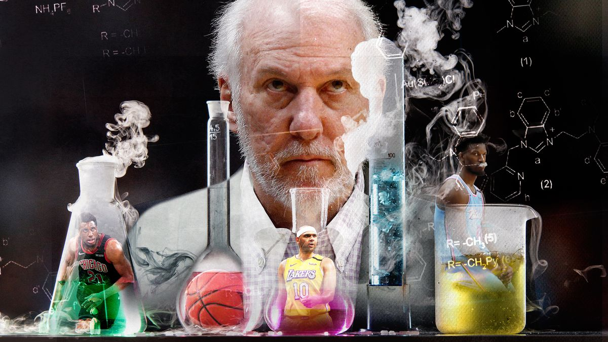 Gregg Popovich looming over steaming chemistry tubes and beakers. Thaddeus Young is in the leftmost beaker, Jared Dudley is in the middle, and Jimmy Butler is on the right.