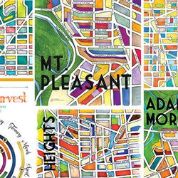 """<a href=""""cherryblossomcreative.com/"""">Cherry Blossom Creative's</a> colorful maps of Washington neighborhood are the coolest non-touristy D.C. gift we've seen recently."""
