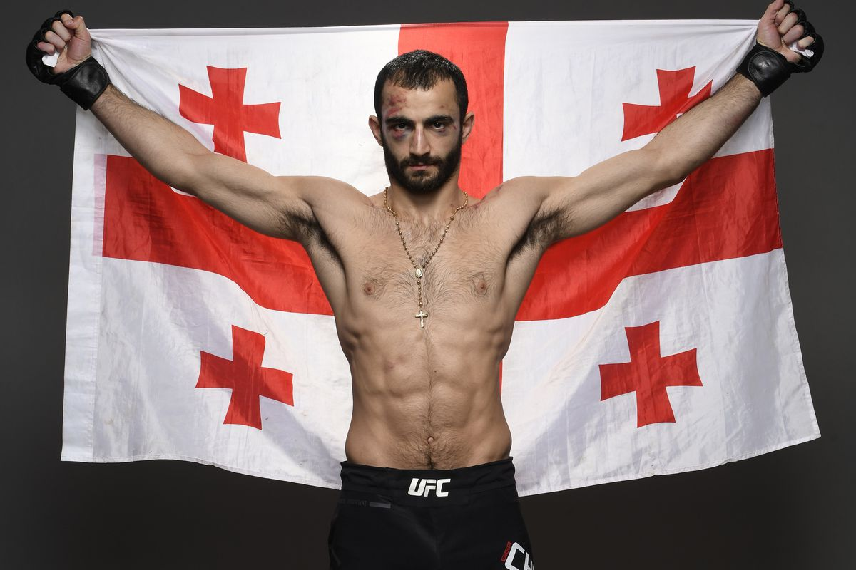 Giga Chikadze of Georgia poses for a portrait backstage after his victory during the UFC 248 event at T-Mobile Arena on March 07, 2020 in Las Vegas, Nevada.