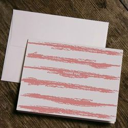 """<a href=""""http://www.fortheloveofpress.com/paintedstripes.html""""> For the Love of Press painted stripes Thank You cards</a>, $5 for 2 cards fortheloveofpress.com"""