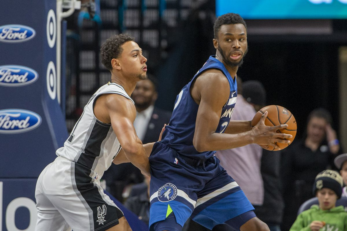 Minnesota Timberwolves forward Andrew Wiggins backs towards the basket as San Antonio Spurs guard Bryn Forbes plays defense in the second half at Target Center.