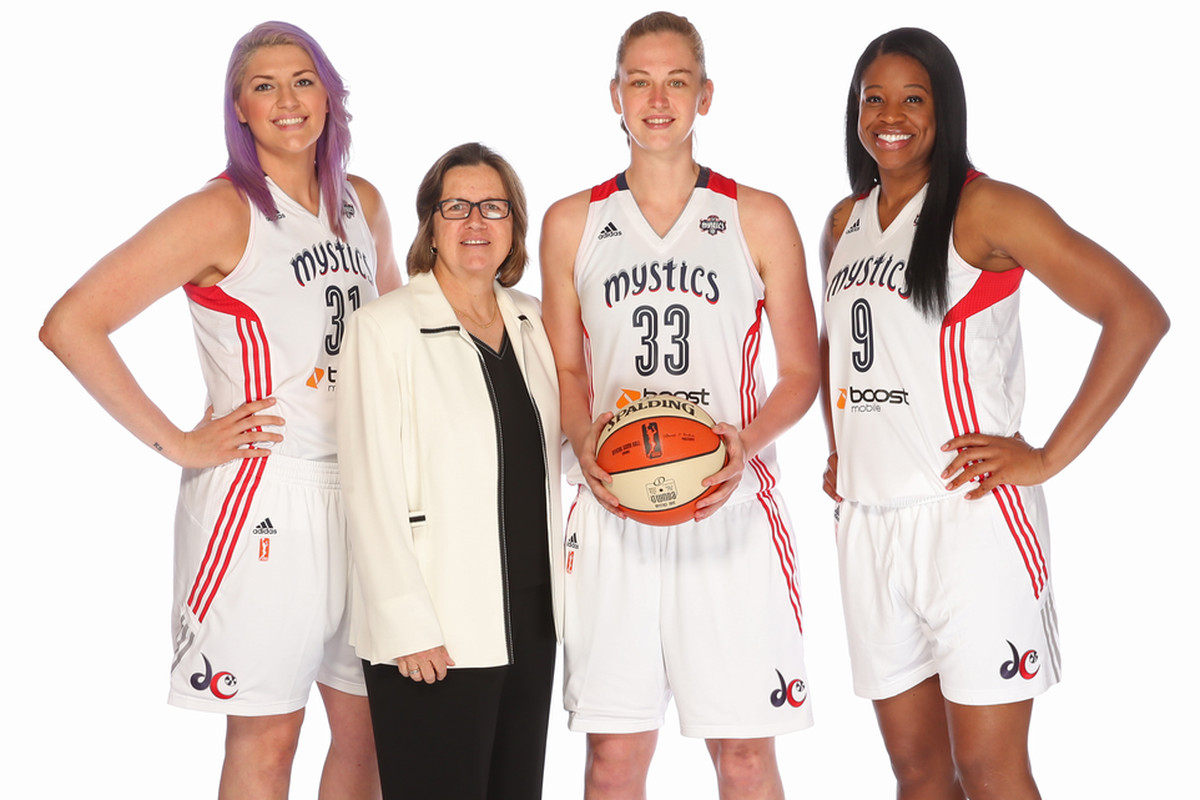 From left to right: Stefanie Dolson, assistant coach Marianne Stanley, Emma Meesseman, and Kia Vaughn pose for photo on the Mystics' media this past Monday.