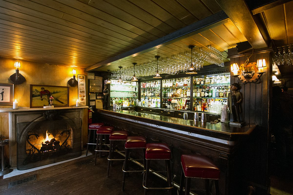 [The bar at Waverly Inn. It's a nice place to sip a cocktail, especially around this time of the year.]