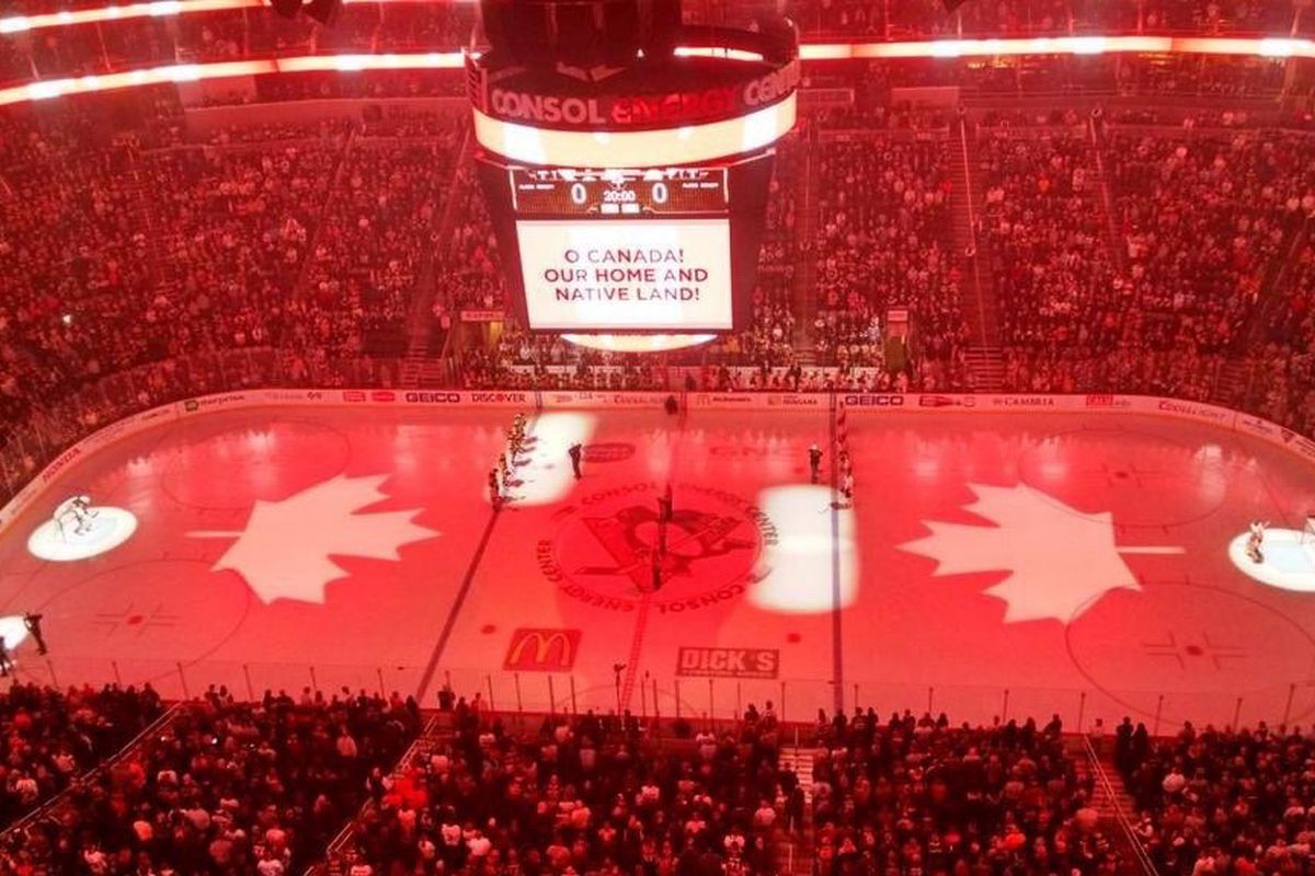 Pre-game ceremony for last night's PIT-PHI game featured an ode to Canada.