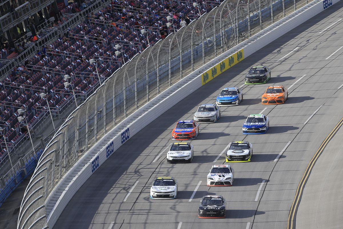 General race action during the running of the NASCAR Xfinity series Ag-Pro 300 race on April 24, 2021 at the Talladega Superspeedway in Talladega, Alabama.