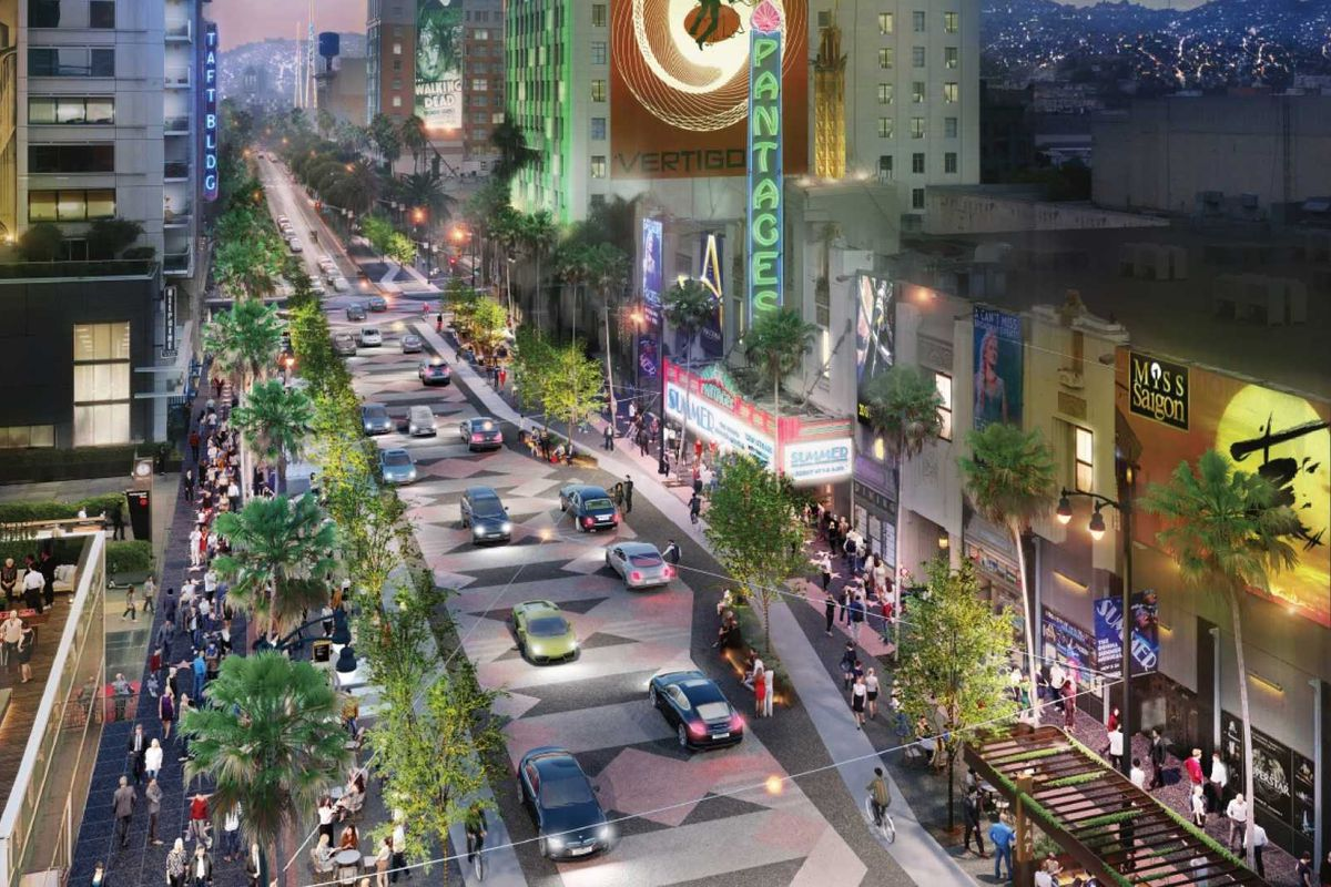 A rendering showing a redone area of Hollywood with more pedestrian traffic.